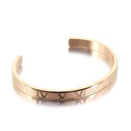 [해외]팔찌 로마 숫자 각인 사지 칼 스테인레스 316L 간단한 팔찌 남성 여성 유니섹스/Bangle Roman Number Engraved Surgical Stainless Steel 316L Simple Bracelet Men`s Women`s Unisex