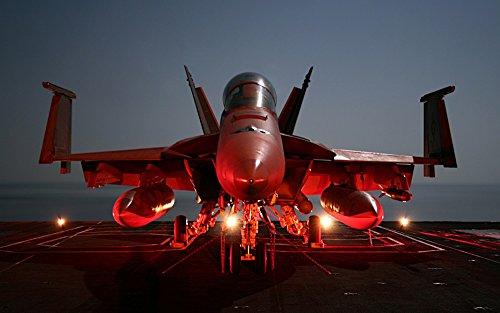絵画風 壁紙ポスター (はがせるシール式) 戦闘機 F/A-18E スーパーホーネット USS 空母 ジョンCステニス ミリタリー キャラクロ UAFT-012W1 (ワイド版 921mm×576mm) 建築用壁紙+耐候性塗料