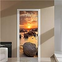 swsongx 3Dドアウォールステッカーサンライズオンロックストーンビーチドア壁画ウォールステッカードアステッカー壁紙デカールホームデコレーション77x200cm