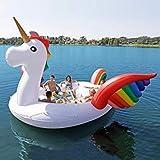 【夏物セール 】VeroMan ボート 超巨大 浮き輪 ユニコーン 6人乗り ロープ付 ドリンクホルダー付 全長約5m