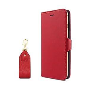 【HANATORA】 iPhone 8 Plus/7 Plus (5.5インチ) ケース PUレザー手帳型ケース レッド