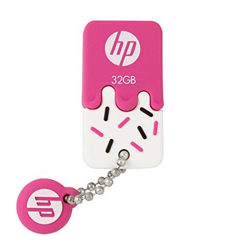 HP ヒューレット・パッカード アイスクリーム USBメモリ (32GB, v178p - USB 2.0 / ピンク アイスクリーム ゴム製 耐衝撃 防滴 防塵)