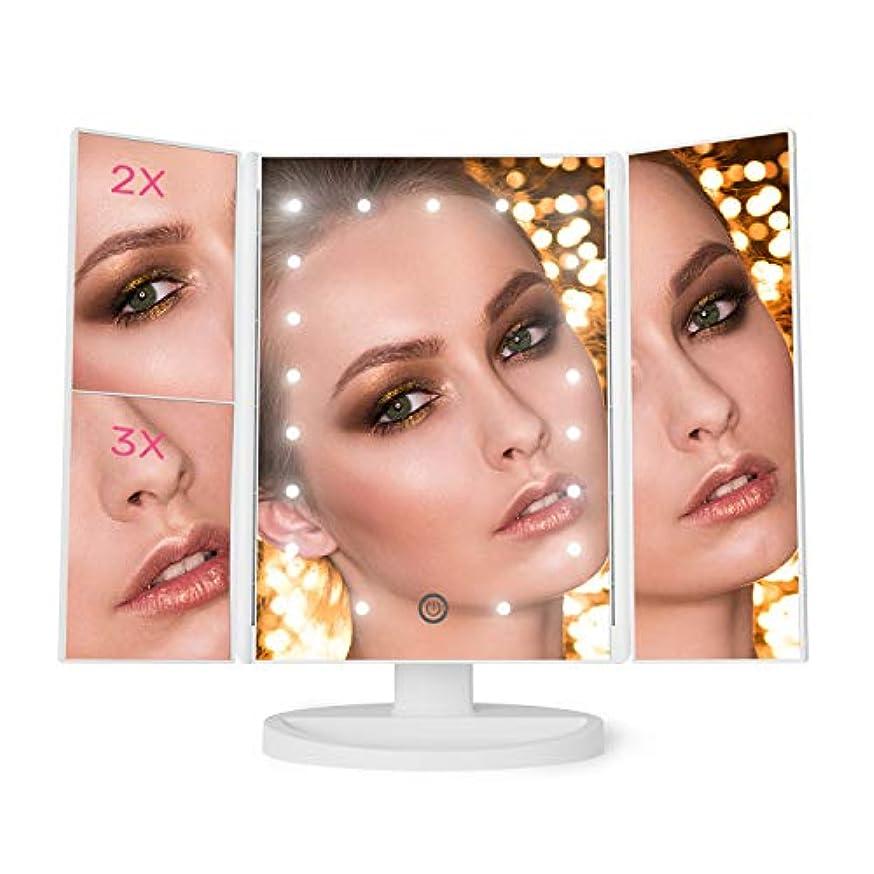 伸ばす回転させるどうしたの化粧鏡 化粧ミラー 鏡 三面鏡 女優ミラー 卓上 led付き 折りたたみ 拡大鏡 2&3倍 明るさ調節可能 180° 電池&USB (ホワイト)