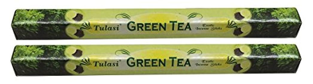 知り合い交換可能メロンTULASI サラチ STICKS お香 40本入り GREEN TEE グリーンティー 640187-2