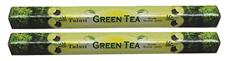 環境保護主義者代表して冷えるTULASI サラチ STICKS お香 40本入り GREEN TEE グリーンティー 640187-2