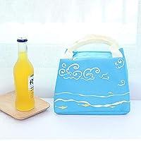 弁当袋 ランチバッグ 手提げ 保温保冷 可愛い 弁当バッグ トートバッグ 防水 ファスナー付き ストライプ 通勤 学校 遠足 大容量 軽量 軽量 (Color : Blue)