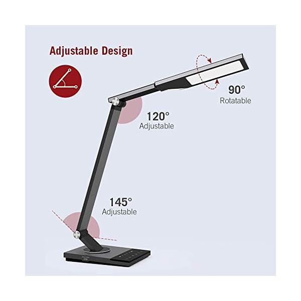 TaoTronics TT-DL16 Stylish Metal LED Desk Lamp, Office 5V/2A USB Port, 5 Color Modes, 6 Brightness Levels, Touch Control, Timer, Night Light, Official Member of Philips Enabled Licensing Program 5