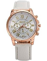 ROOFTOPS ジュネーブローマ数字クォーツ腕時計カジュアルカップル腕時計腕時計女性&男性ギフト(ホワイト)