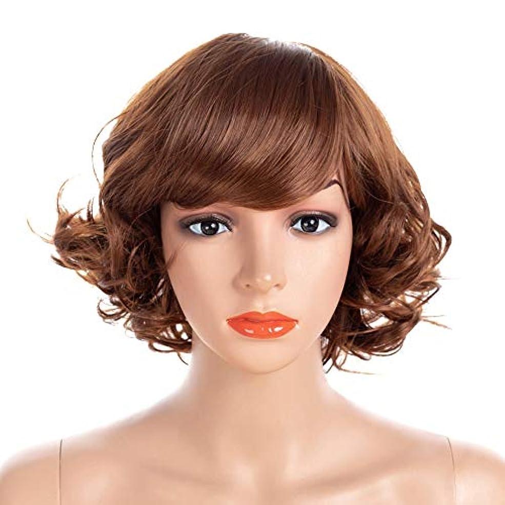 酸度あいにくスモッグWASAIO 女性ファンシードレス&コスプレパーティーアクセサリースタイルの交換のための高品質の自然な茶色の短い波状カーリーウィッグ (色 : ブラウン, サイズ : 40cm)