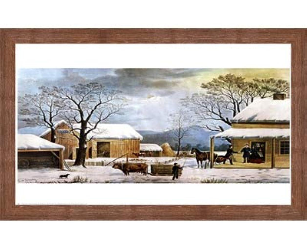 ホーム、感謝祭by Currier and Ives – 27 x 22インチ – アートプリントポスター LE_33759-F10570-27x22