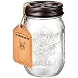 Mason Jar Toothbrush Holder – Bronze – with Genuine Glass 16 Ounce Ball Mason Jar for Regular Mouth Mason Jar , Premium Rust-