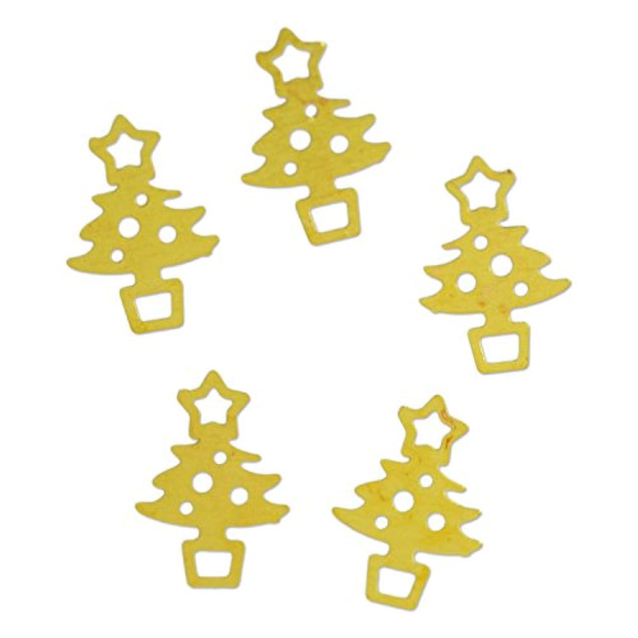 地区フロント修復薄型メタルパーツ10041 クリスマスツリー christmas treeS 4×6mm ゴールド 20p入り