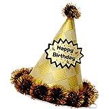 D DOLITY 誕生日帽子 ポンポン帽子 お祝い 写真小物 多色選べ  - 黒い菱形