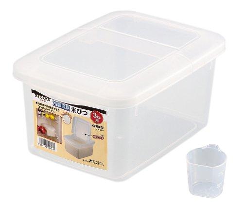 パール金属 米びつ 3kg 冷蔵庫用 計量カップ付 ストックス 日本製 H-5541