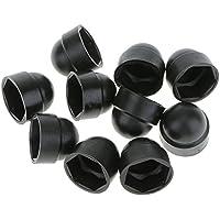 IPOTCH 10個入り M10 ドームボルトナット 保護キャップ 六角形 ボルト ナット カバー ブラック