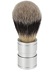SODIAL 1ピース 男性のヘアシェービングブラシ ステンレス金属ハンドル ソフト合成ナイロンヘア理髪ブラシ 快適な ひげ剃りツール