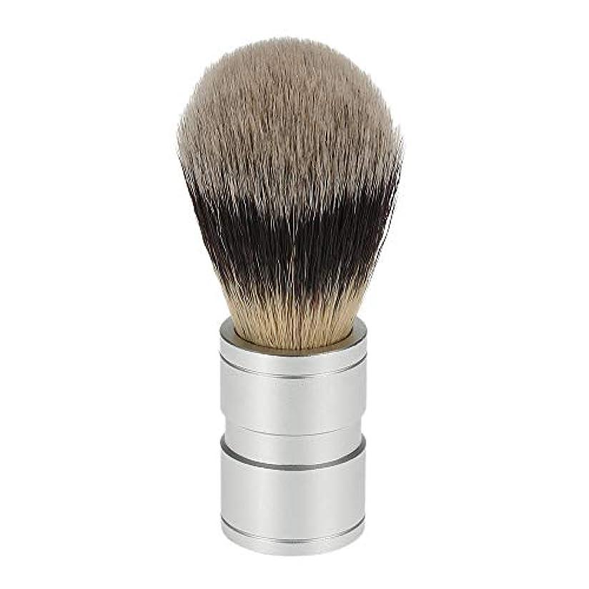 習熟度克服する触覚RETYLY 1ピース 男性のヘアシェービングブラシ ステンレス金属ハンドル ソフト合成ナイロンヘア理髪ブラシ 快適な ひげ剃りツール