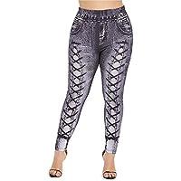 Jahurto Printed Trousers Denim Denim Jeans Plus Size Womens Leggings (Color : Style_b-Blue, Size : XXXXX-Large)