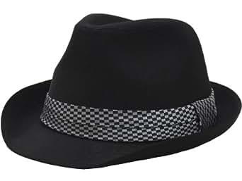 (エクサス)EXAS ブラックボディーチェックリボン中折れハット(透明な帽子置き付き) ブラックホワイト