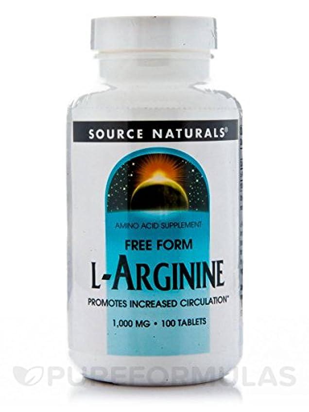識別パラシュートポータブルSource Naturals - Lアルギニン自由形式の 1000 mg。100錠剤