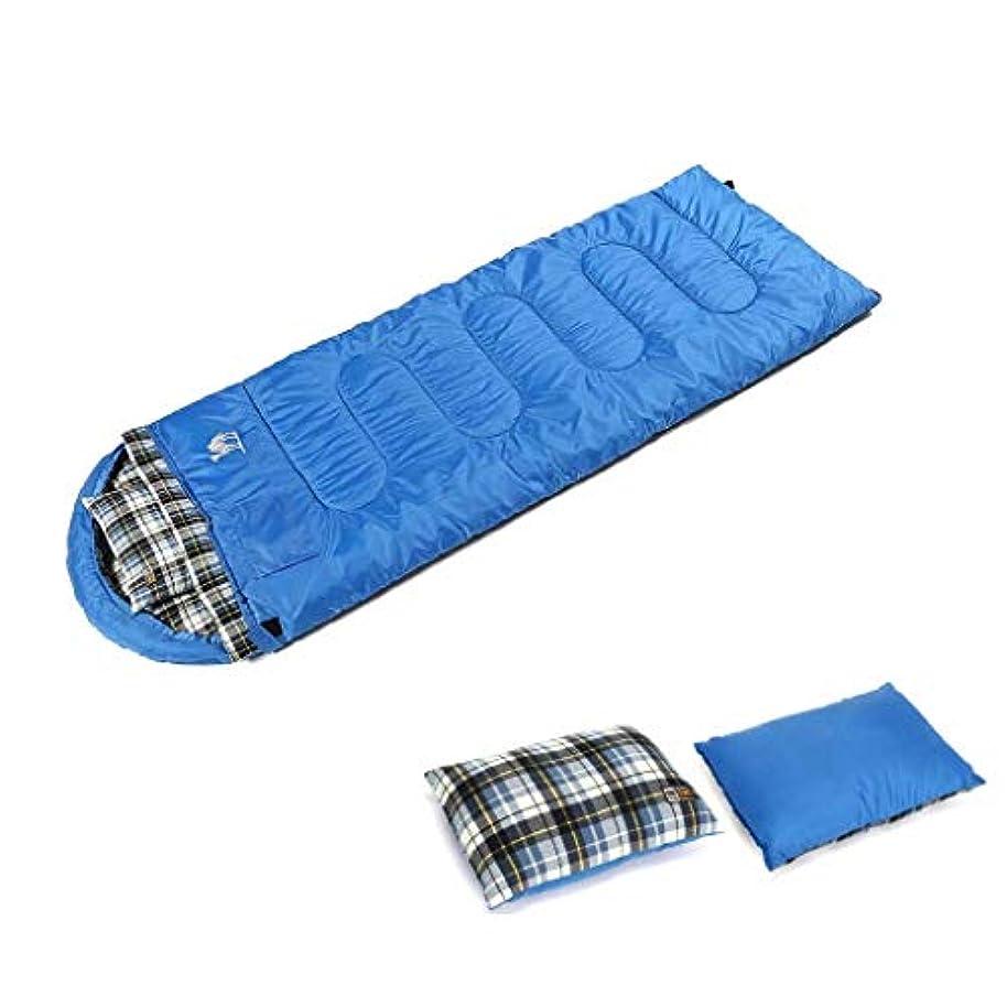 曖昧な加速する杭コンフォートウォームエンベロープスリーピングバッグ軽量大型防水長方形寝袋枕と中空コットン、冬アウトドアキャンプバックパッキングトラベルハイキング (Color : 青)