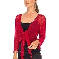 SHU-SHI Womens Sheer Shrug Tie Top Cardigan Lightweight Knit One Size 2-12