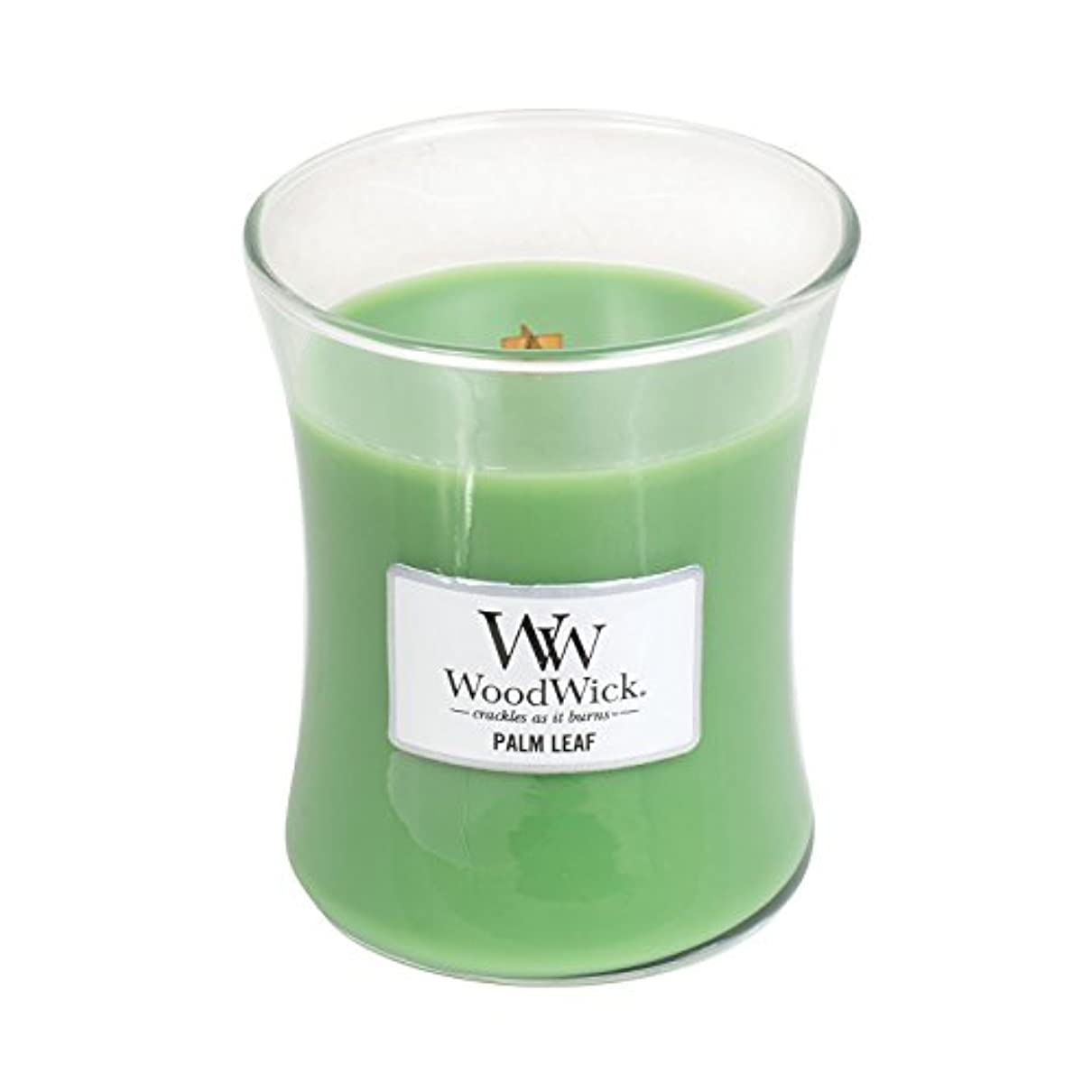 今自慢黒Woodwick Palm Leaf , Highly Scented Candle、クラシック砂時計Jar、Medium 4インチ、9.7 Oz