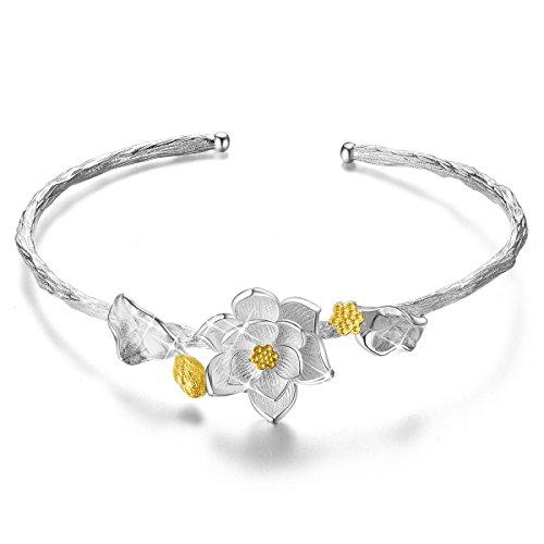 [해외]SHEGRACE 팔찌 연꽃 오픈 팔찌 925 18k 골드 도금 스털링 실버 액세서리 실버/SHEGRACE bangle lotus flower open bracelet silver 925 18k gold plating sterling silver accessory silver