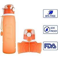 iKiKin シリコーン製 ウォーターボトル 折り畳み式 スポーツボトル ポータブル 超軽量 大容量 1000ml 全5色