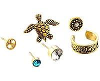 (ビグッド) Bigood ピアス 6点セット レディース 耳飾りイヤリング ファッション ピアス アクセサリー 小物 プレゼント(ゴールド)