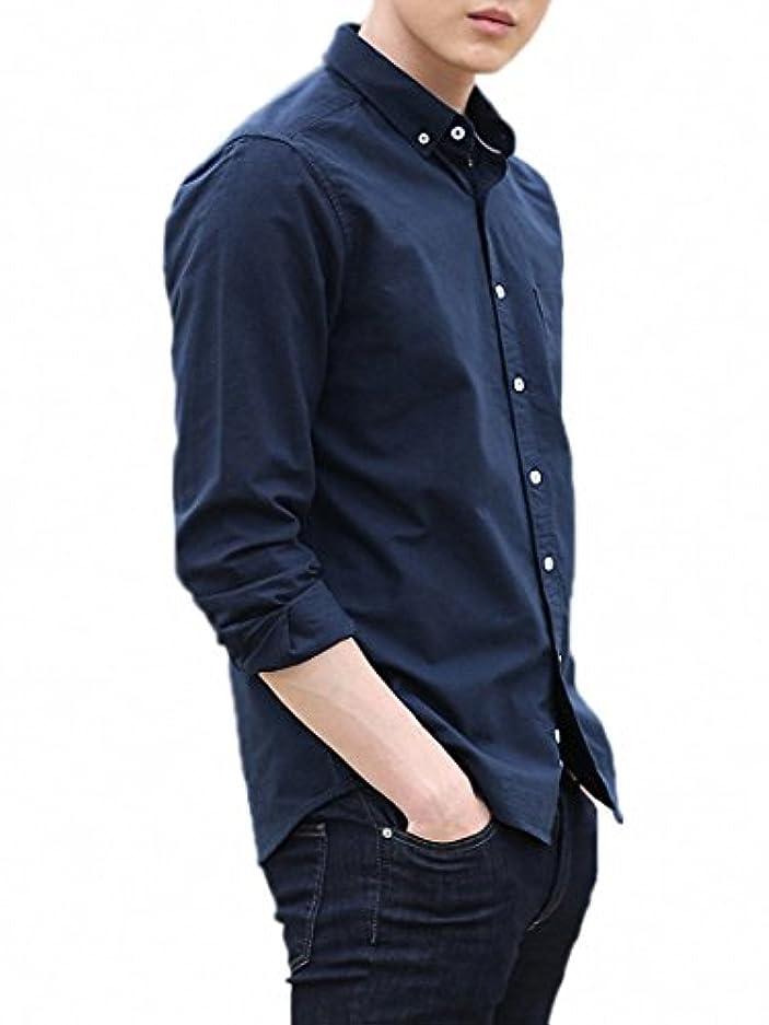 マーク体操選手ボタンLOYEE yシャツ 長袖シャツ メンズ オックスフォード ボタンダウン ワイシャツ 無地 春 秋 スリム ビジネス カジュアル M04