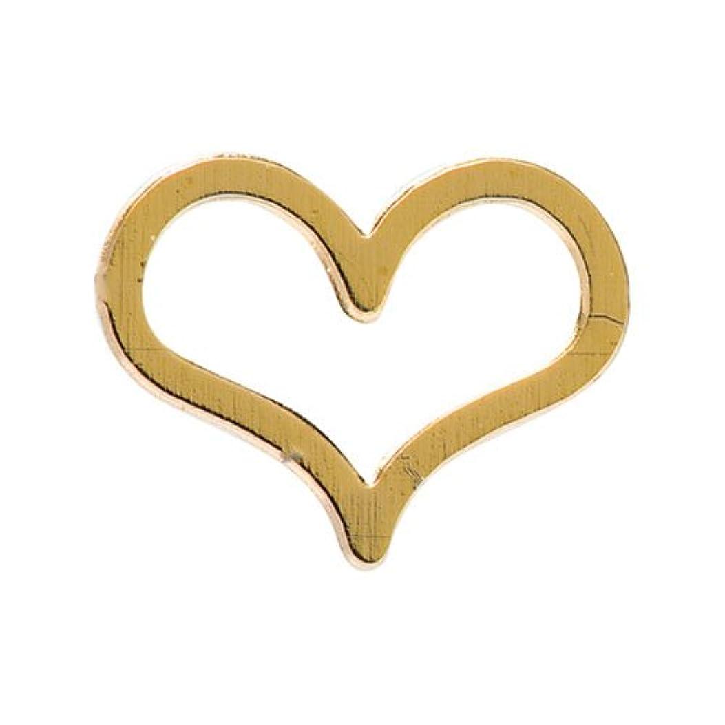 同性愛者絶縁する自発的リトルプリティー ネイルアートパーツ ラブリーハート M ゴールド 10個