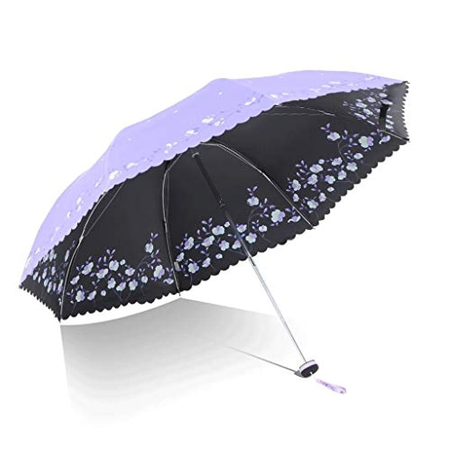 宿題形成結論傘ブルーアンチUV日傘超小雨と雨の兼用傘小さな新鮮な折りたたみ日傘 (色 : 紫の)