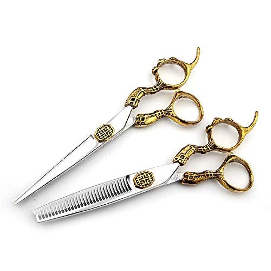 Goodsok-jp 6インチの美容院の専門のヘアカットの金の贅沢で平らなはさみの歯のせん断セット (色 : ゴールド)