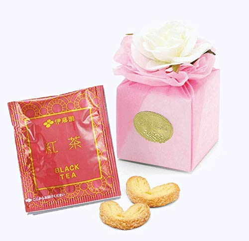 ホワイトローズ付きボックスのプチギフト(ピンク)(ハートのクッキーパイ2枚&紅茶ティーバッグ1包入り)1個【結婚式 二次会 パーティ】