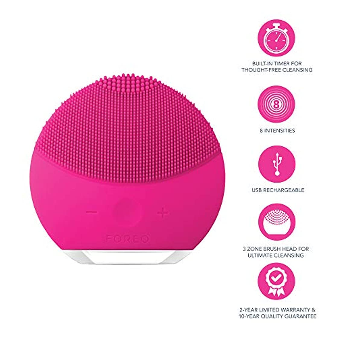 監督する硬化する閃光FOREO LUNA mini 2 フクシア 電動洗顔ブラシ シリコーン製 音波振動