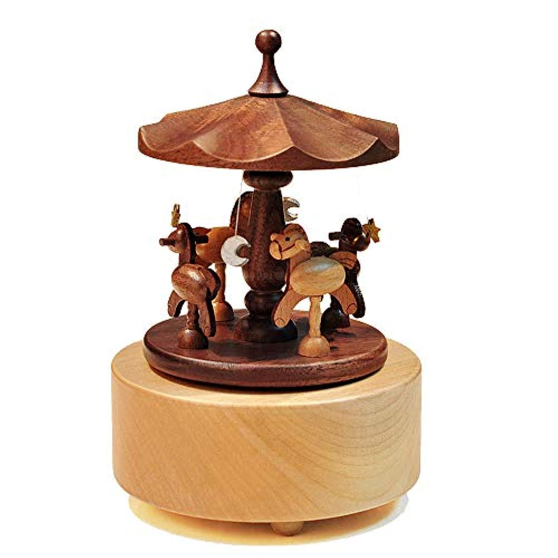 子供のクリスマスギフト木製回転オルゴール