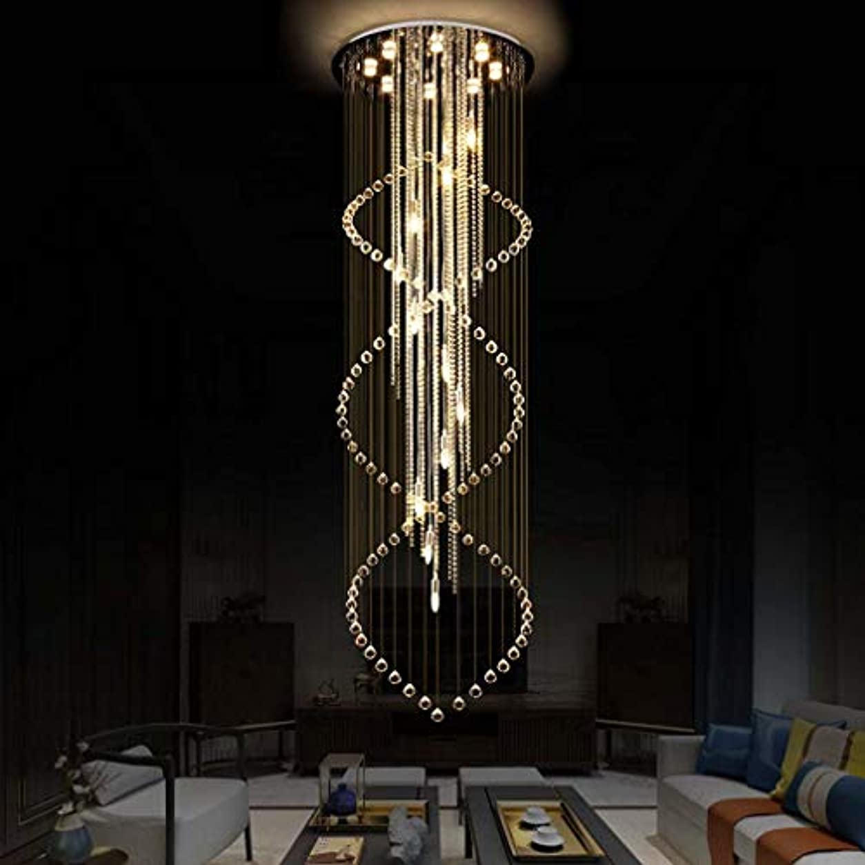 水差しわなハッチ現代K9クリスタルレインドロップシャンデリア照明、フラッシュマウントLED天井照明器具ペンダントランプルームリビングルーム8 X GU10 LED電球、D31.5のXのH110.2インチダイニング用