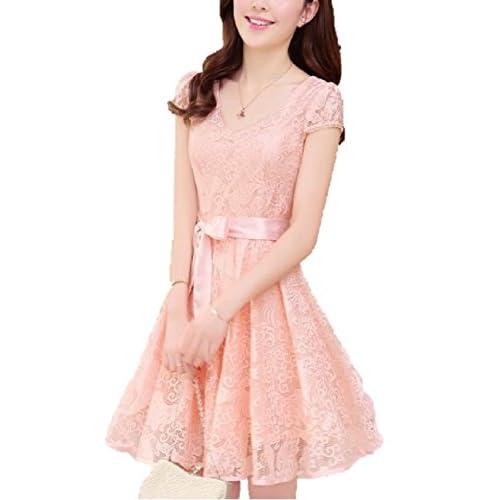 プリンセス ドレス ! 総 レース 刺繍 リボン ワンピース 大人 レディース ファッション/ ピンク , ブルー / M L XL XXL 大きい サイズ あります! (ピンク, M)