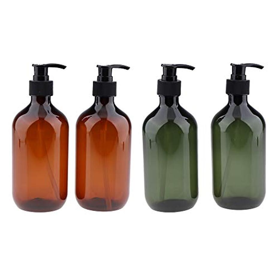 苦行慈善冷酷なシャンプーボトル ポンプボトル 大容量 500ml 漏れ防止 空のペットボトル サロ 4本