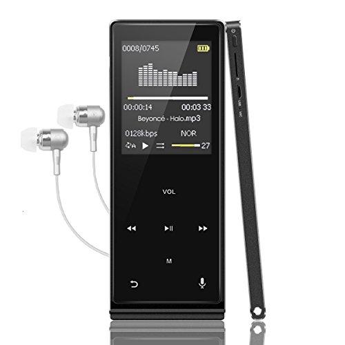 MP3プレーヤー Popsky Bluetooth対応 音楽プレイヤー HiFi超高音質 デジタルオーディオプレイヤー ボイスレコーダー スピーカー内蔵 タッチボタン 内蔵8GB マイクロSDカード最大128GBに対応 イヤホン付き