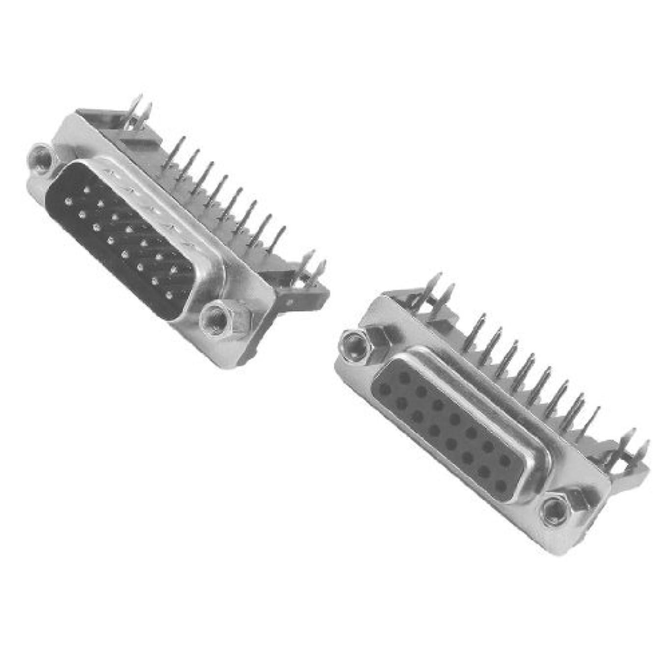 無数の入札帽子DealMux DB15 15ピンオス+メスライトアングルD-SUB PCB実装コネクタ2個