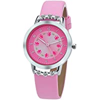 Girls Watches,Flowers Diamond Wrist Watch Leather Band Quartz Cute Waterproof Watches for Kids Girls