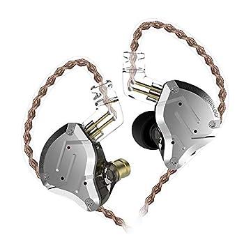 KZ ZS10 PRO 重低音 kz イヤホン 高音質 イヤホン イヤモニ型 ハイブリッド イヤホン 1ダイナミック&4バランスド・アーマチュアを搭載 リケーブル可能 透明感であるシェルとフェイスプレートを採用 中華イヤホン Yinyoo (ZS10 Pro銀‐灰・マイクなし)