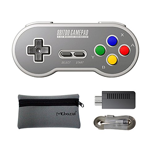Mcbazel 8Bitdo SF30 2.4G レトロ ゲームコントローラー SNES、SFCワイヤレスレシーバーアダプター付き 収納袋付き
