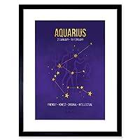 Zodiac Star Sign Birthday Astrology Aquarius Framed Wall Art Framed Wall Art Print 十二宮星壁壁