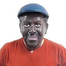 仮装パーティーのコスプレ用、ラテックス素材の気味の悪いリアルなケニア人黒人男性の頭部のマスク