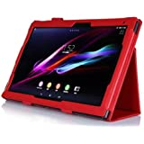 SP-MART(オリジナル)SONY Xperia Z2 Tablet ケース DOCOMO SO-05Fカバー  AU SOT21 case 全6色ソニ エクスペリア Z2 タブレット専用cover  PUレザーケース スタンド機能 ライチ模様 litchi stria PU Leather Case for SONY Tablet Z2 Sony tablet pc case スマートカバー esd3006_53 (Red)