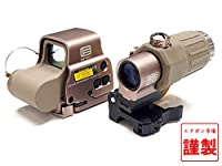 [エアガン市場謹製] 現行刻印モデル EOTech EXPS-3 & G33 Magnifire STSマウント セット (日本語説明書/保証書/レンズカバー付) (DE ダークアース)