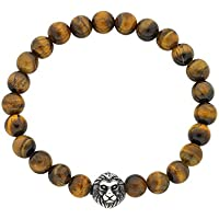 Bevilles Stainless Steel Lion Face Mens Bead Bracelet Beaded